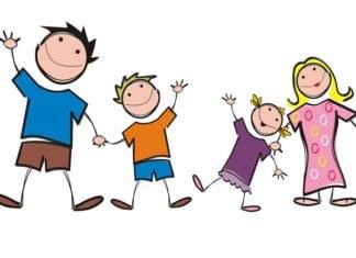 színes grafika egy családról