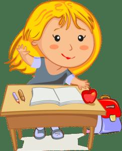 Szökehajú kislány ül az iskolapadban